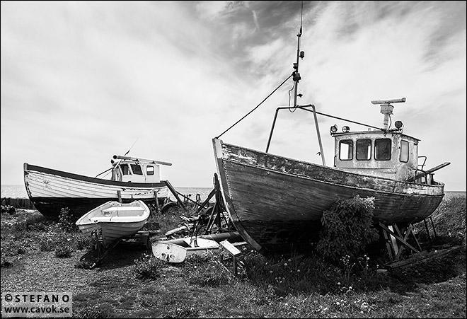 Fiskebåtar på land