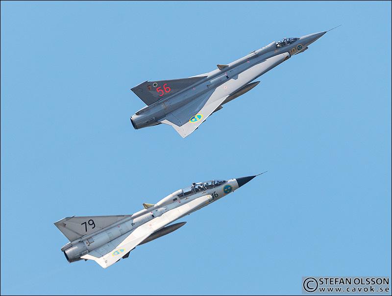 SAAB J35J och SK 35C Draken F17 Kallinge 2019
