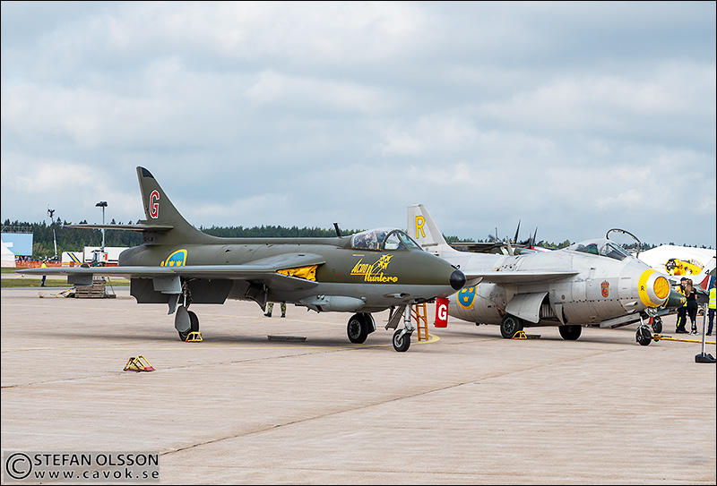 J35 Hawker Hunter och J29 Tunnan i Kallinge