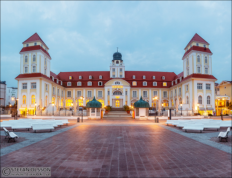 Kurhaus Binz - panorama i gryningsljus