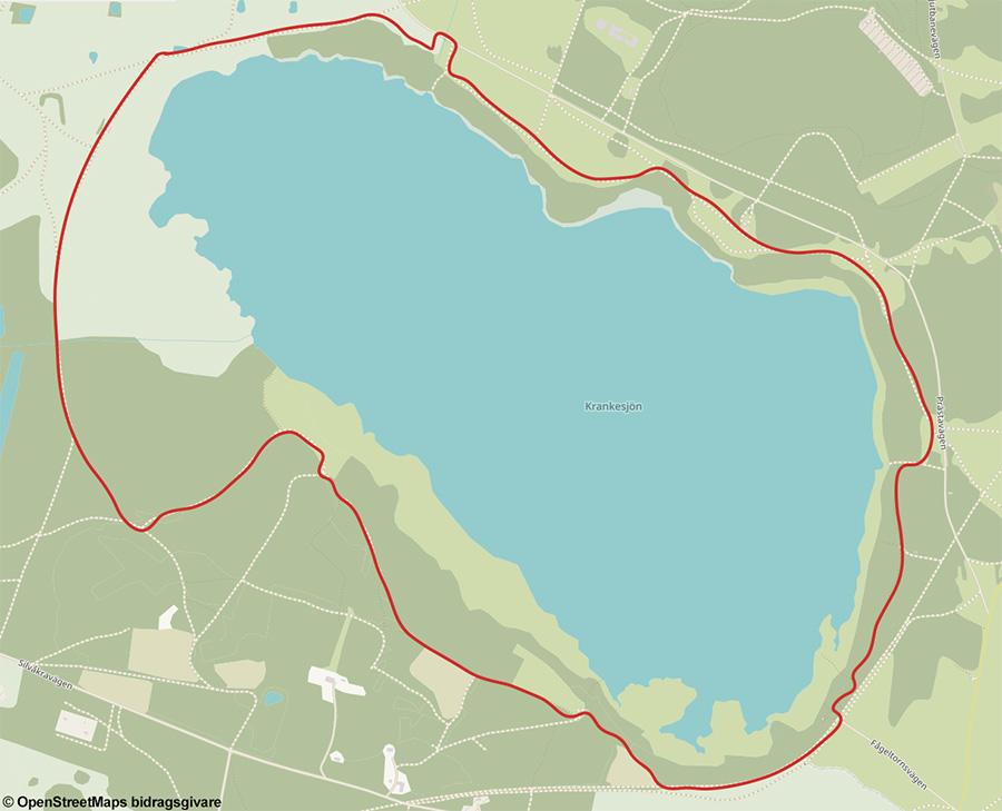Karta och rutt vandring runt Krankesjön