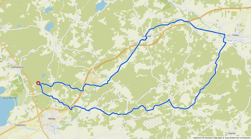 Karta cykling över Linderödsåsen och längs Linderödsvallen